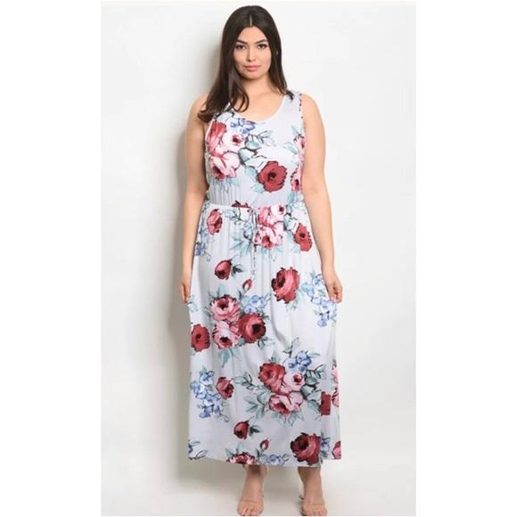 Zenobia Dresses | Plus Size Light Blue Floral Maxi | Poshmark